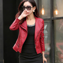 Fashion Women'S Short Slim Small Motorcycle Leather Jacket White/Black/Pink/Red Casual Plus Size Long Sleeves Coats S/5Xl S2182