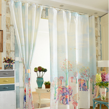 Elephant Print 3D Window Curtain for Living Room Home Decoration 2pc 1.4mx2.7m X2 PANEL Pink Elephant Kids  Bedroom Curtain