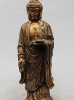 11 Старый китайский Буддизм дерева вырезать стенд Шакьямуни Будда Шакьямуни Статуя