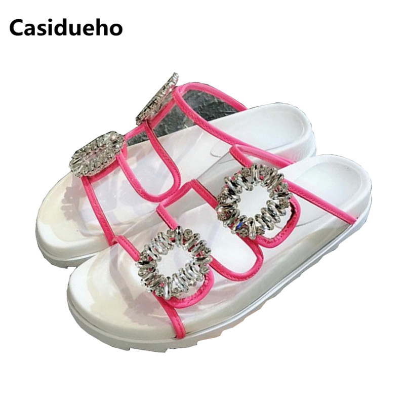 Casidueho Crystal Women Slippers Summer Gladiator Sandals Women Flats Casual Shoes Slip On Peep Toe Slides Leather Flip Flops drkanol women sandals 2018 genuine leather flat gladiator sandals for women summer casual shoes peep toe slip on vintage sandals