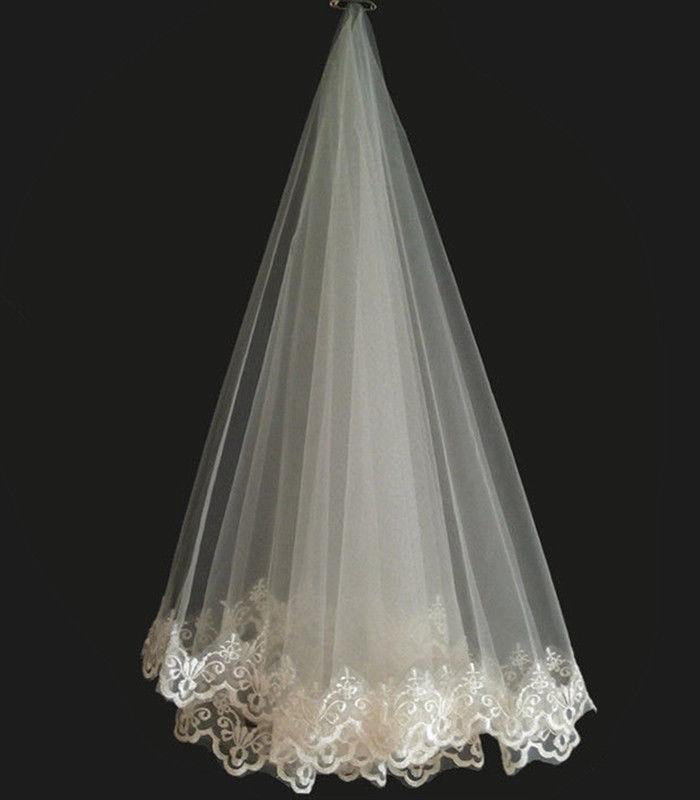New Popular Bridal Veils Lace Edge Appliques Wedding Bride Veil 2019