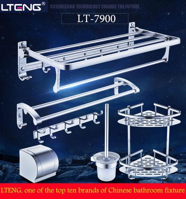 LTENG bathroom towel rack punch-free space aluminum towel stand bathroom shelf bathroom hardware pendant set free shipping to EU