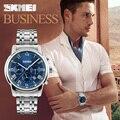 Мужчины Кварцевые Часы Лучший Бренд SKMEI Полный Нержавеющей Стали Аналоговый Дисплей Моды мужской Спорт Случайные Часы Водонепроницаемые Мужчина Часы