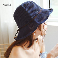 2017 Spring and summer Hollow Korean Star With The Department Of Thin Cotton Knitting Folding Lotus Leaf Fisherman Hat Cap