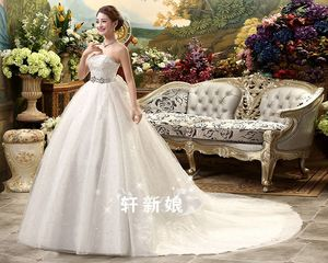 Image 2 - White Hot Sale Royal Train 2019 Romantic Luxury Wedding Dresses With Tail Sexy Vintage Bridal High Lace Wedding Dress