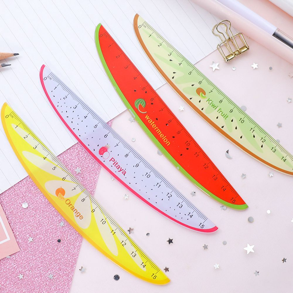 Cute Kawaii Plastic Ruler Creative Fruit Watermelon Shape Ruler For Kids Student Novelty Item Stationery Random Color
