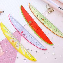 Cute Kawaii Plastic Ruler Creative Fruit Watermelon Shape Ruler For Kids Student Novelty Item Stationery Random Color