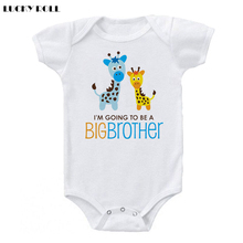 LUCKY ROLL New child Child Bodysuits Cartoon Giraffe I Am Going To Be A Large Brother Printed Child Boys Rompers Quick Sleeve Garments