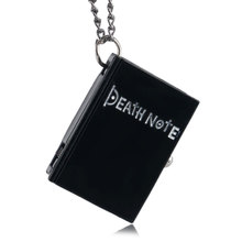 Hot Anime Death Note Theme Quartz Pocket Watch Rectangle Note Design Fob Watches Necklace Pendant Necklace Gift for Children