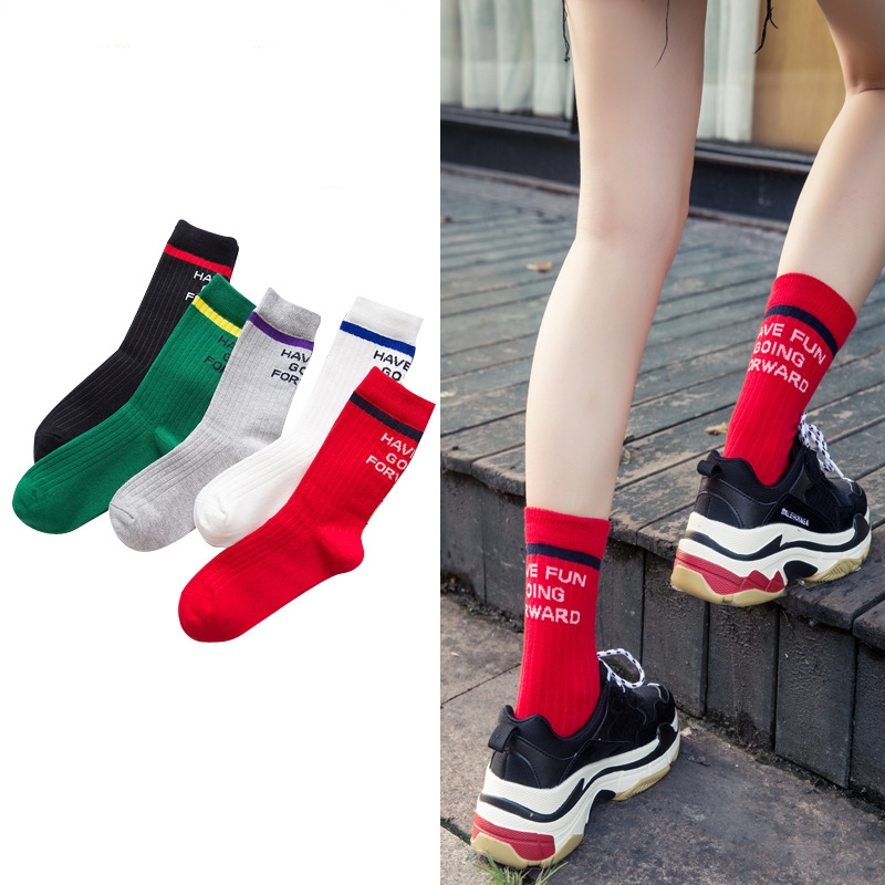 New Women Socks 1 Pair Long Cotton Color Striped Letter Autumn Casual Fashion Socks Women Novelty Fashion Winter Lady Socks
