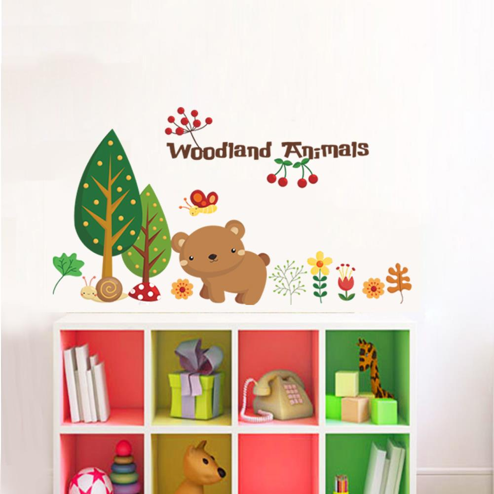 Christmas Wall Decals Removable.Us 2 51 16 Off Woodland Animal Cherry Christmas Wall Stickers Home Decorations Bear Tree Flower Removable Vinyl Wall Decals Happy New Year 1221 In