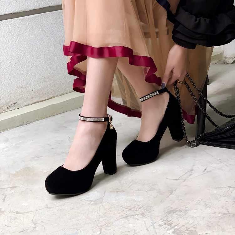 Duży rozmiar 11 12 13 14 damskie buty na wysokim obcasie damskie buty kobieta pompy jedno słowo klamra pojedyncze buty z okrągłym zamszowe wodoodporne stół