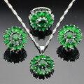 Cor prata Criado Verde Esmeralda Conjuntos de Jóias Flor Brincos/Pingente/Colar/Anéis Para As Mulheres Box Grátis Feito na China