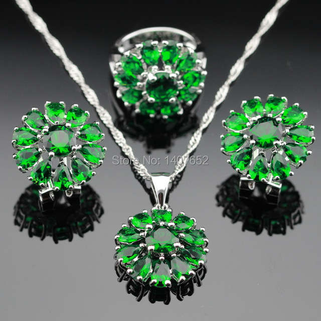 Silver Color Green Created Emerald Jewelry Sets Flower Earrings/Pendant/Necklace/Rings For Women Free Box Made in China