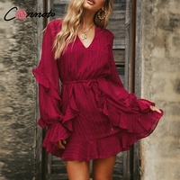 Conmoto Red Autumn Winter Elegant Chiffon Casual Dress Short Solid Women Dress Long Sleeve Black Ruffle Party Dress Vestidos