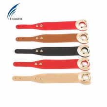 Transna Leather Bracelet Adjustable Size Gold Color Metal All-Match Wide Leather Bracelets For Women Red/Black/Brown Wristband