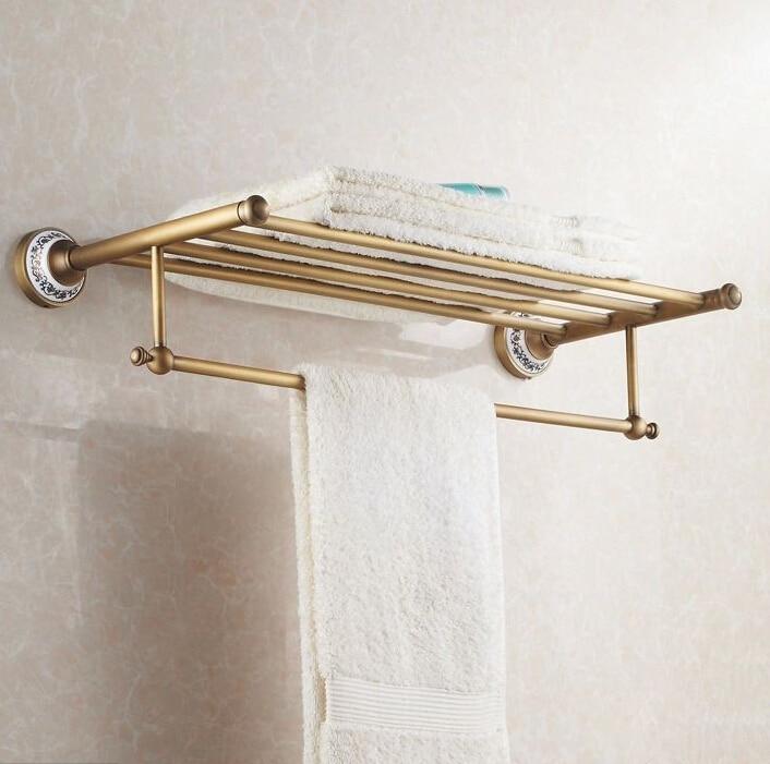 New arrival Antique copper with ceramic towel rod rack shelf towel ...