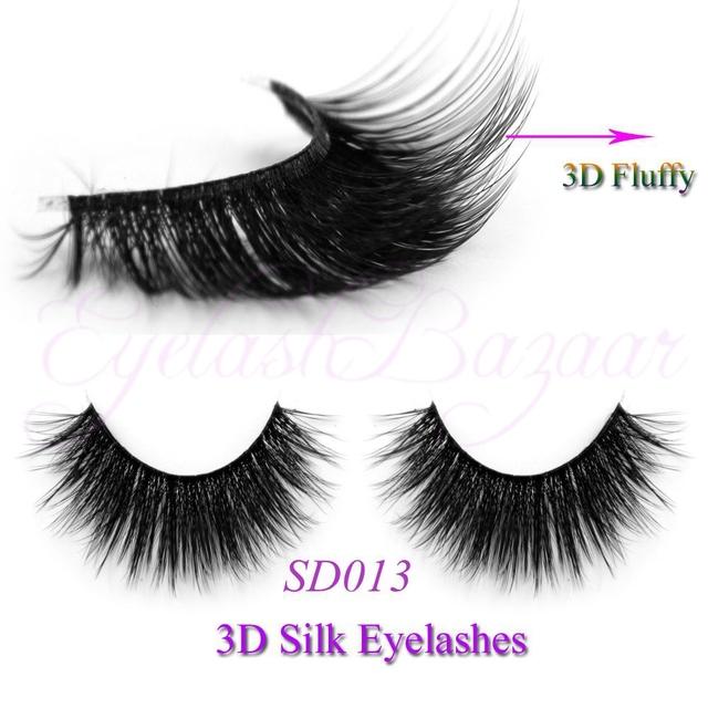 Frete grátis Hot vende 3D 0.07 falso vison cílios tira sintética 3D013 3D cílios cílios de seda
