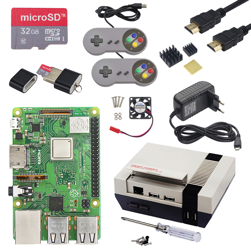 Raspberry Pi three Mannequin B+ ( B Plus ) Gaming Package + Energy + 32G Sd Card + Hdmi Cable + Warmth Sink + Lastest Nespi Case+ For Retropie