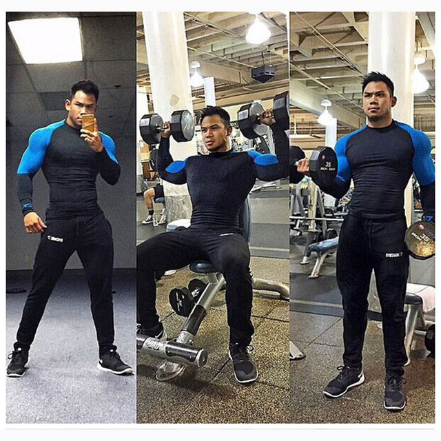 Men Compression O-Neck Long Sleeve Tight T Shirts Fast Drying Fitness Base Layer Tops M-XXL