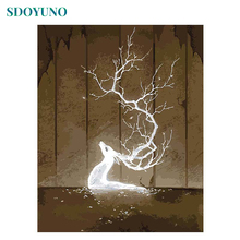 SDOYUNO 40x50 Frame White Deer DIY Painting By Numbers Canvas Painting Wall Art For Room Decoration Paint By Numbers Home Decor недорого