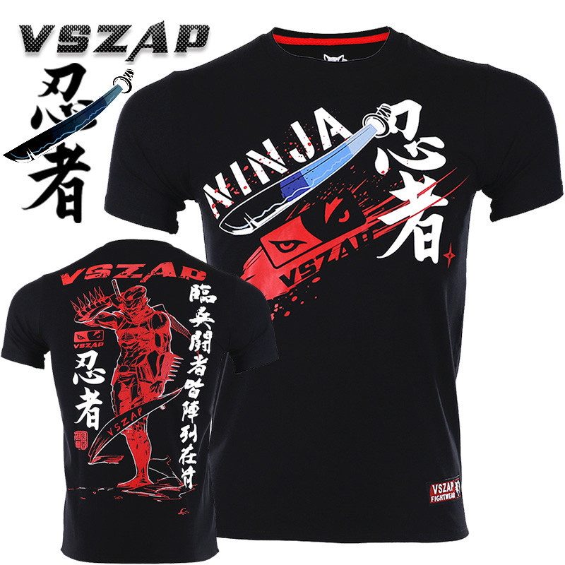 VSZAP Ninja Tshirts Men Fitness Sanda Japan Tide Brand Tee Shirt Sporting Workout MMA Fighting Martial Arts UFC Fight