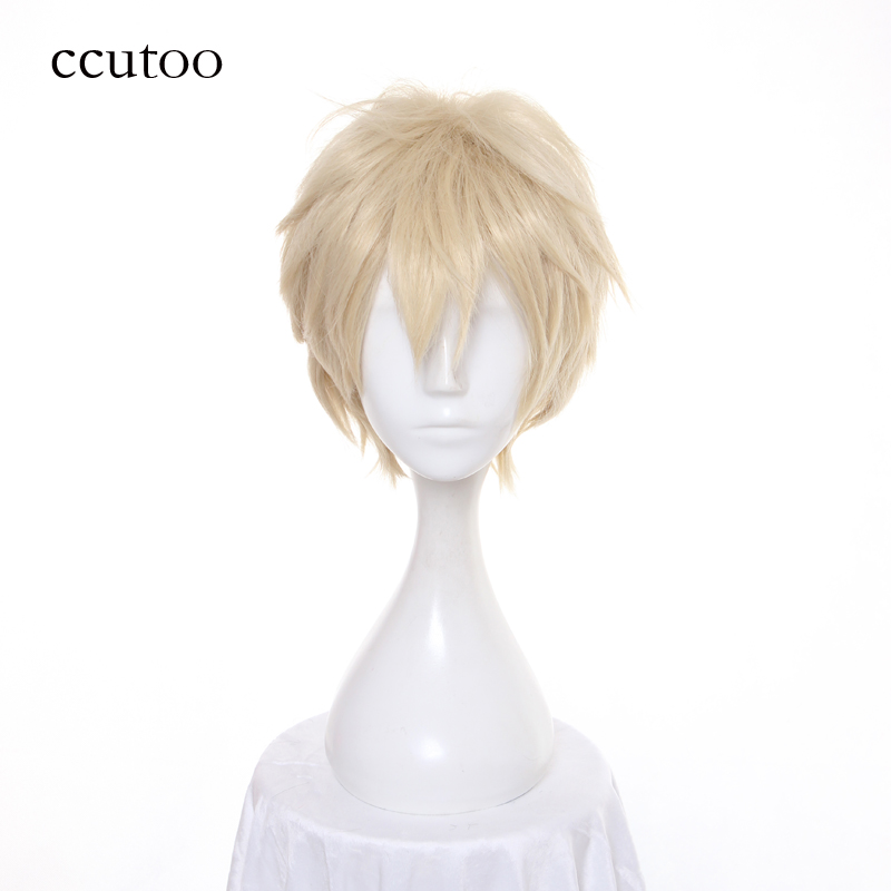 ccutoo 12inch Light Golden Short Fluffy Layered Synthetic Wigs APH Axis Powers Hetalia England Cosplay Wig Heig Resistance Hair