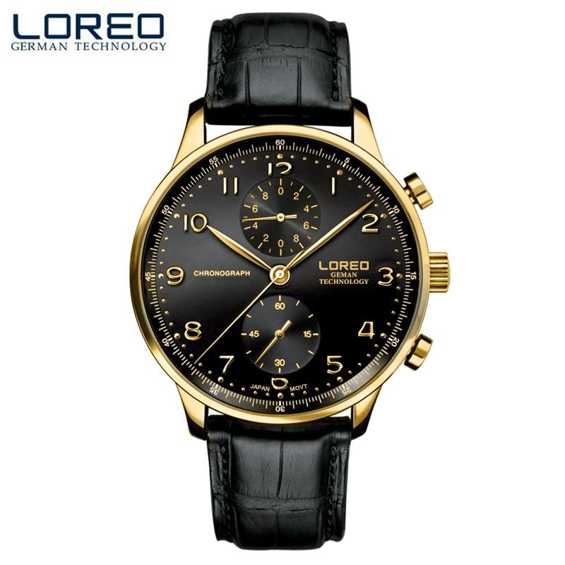 LOREO Casual mens font b watches b font brand luxury Leather Men font b Military b