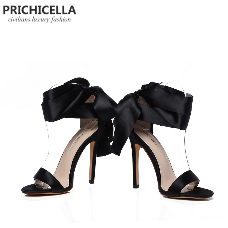 Cuir Mode Cheville Véritable Haut Pompes Prichicella En Satin up Talon Wrap D'été Robe Dentelle Chaussures Noir gwO0Hq0d7