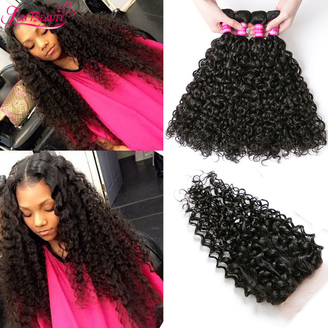 Wet And Wavy Malaysian Water Wave With Closure Malaysian Virgin Hair Water Wave 4Bundles With Closure Malaysian Curly Human Hair