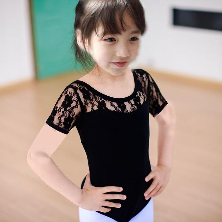 100-160cm black rosy blue lace children lace leotard Latin dance ballet short sleeved clothing gymnastics