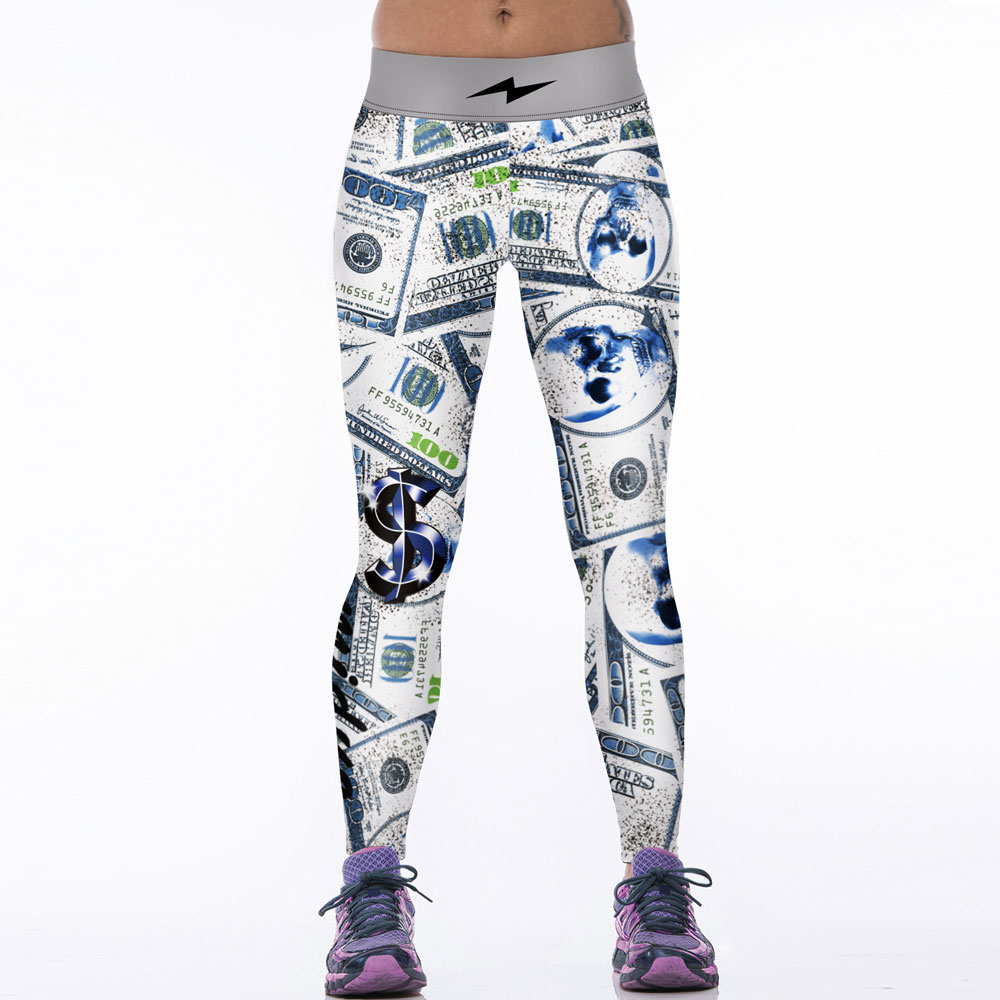 JESSINGSHOW Hot Women Sports Leggings Leggins Skull Dollar Printing Gym Running Fitness Yoga Pants Female Sportswear Drop Ship