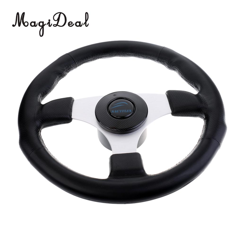 MagiDeal Hot 340mm Aluminum Alloy Marine Boat Yacht Steering Wheel 3 Spoke 3/4' Shaft Replacement for Diver Yacht Dinghy Acce aluminum alloy 25t steering servo horn