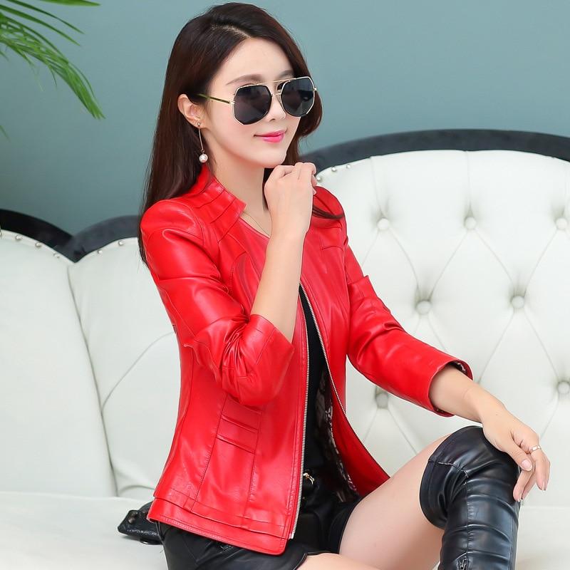 Court Cuir Red Moto Black La Taille red Veste Automne deep Y576 Plus Femmes Mince En Nouveau Féminins 2018 army Green Printemps Manteau 4xl Vêtements zqwXB0