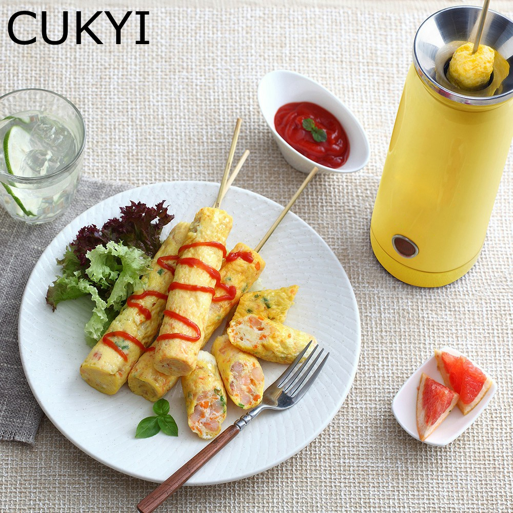 CUKYI 100W Electric Egg Boiler Automatic Egg Roll Maker Cooking Tools Egg Cup Household Omelette Master Sausage Machine Yellow cukyi automatic roll maker electric egg boiler cup omelette breakfast maker non stick kitchen cooking tool 220v heat separately