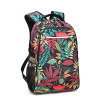 Fashionable Black Floral Print Backpack Flower Pattern Women Back Pack School Bookbag Bags for Teenager Girls and boys
