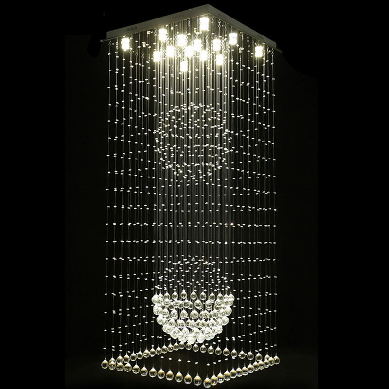 Contemporary Square Crystal Chandeliers Raindrop Flush Light Stair Lights Fixtures Hotel Villa Crystal Ball Shape