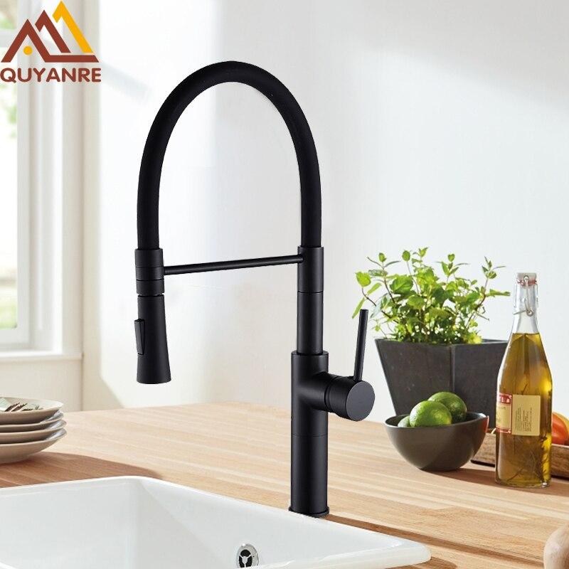 Quyanre Matte Black Chrome Kitchen Faucet Pull Down Sprayer 360 Rotation Torneira De Cozinha Single Lever