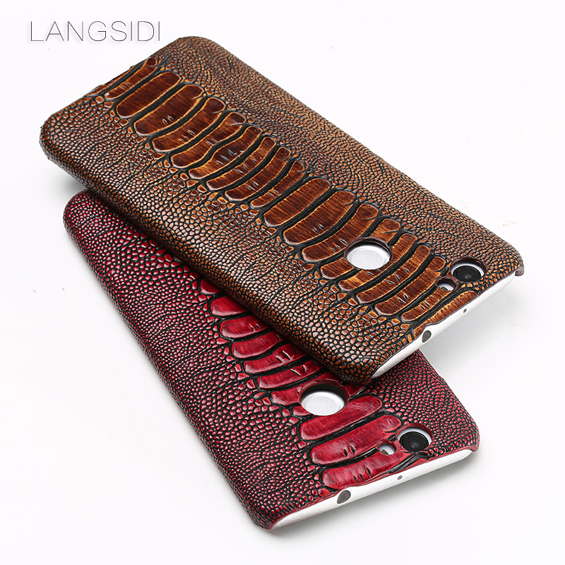 Wangcangli marque coque de téléphone autruche pied grain demi-enveloppé téléphone étui pour huawei Nove coque de téléphone à la main traitement personnalisé