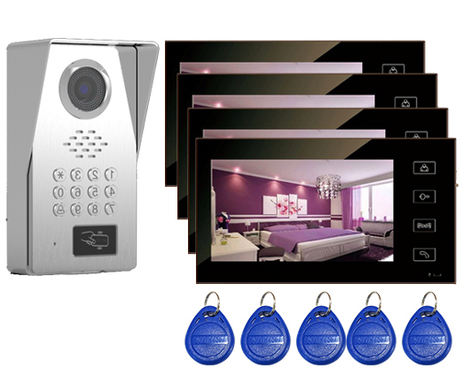 SMTVDP Top Quality TFT LCD Color 7Video Door Phone Doorbell IR Intercom Home Security System HD Camera w/t ID Card&Password 1V4