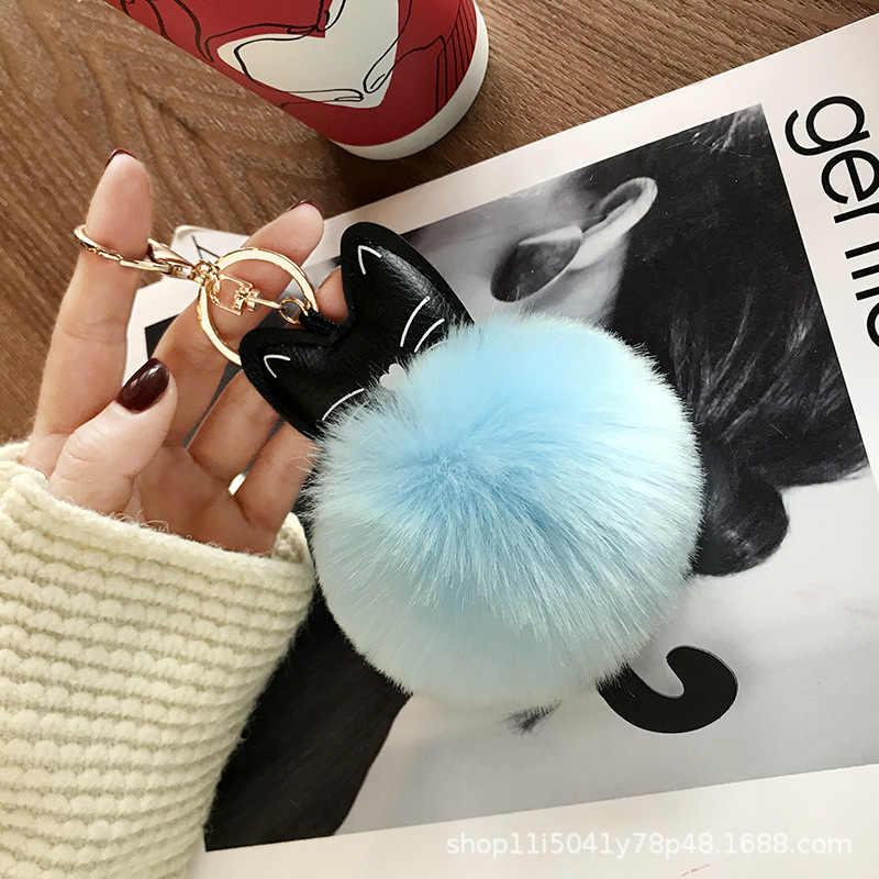 Bugiganga Chaveiros Gato Bonito Chaveiro Bola Pompom De Pele de Pele Artificial no Saco Bonito Fofo Falso Pompom Acessórios Pingente C036