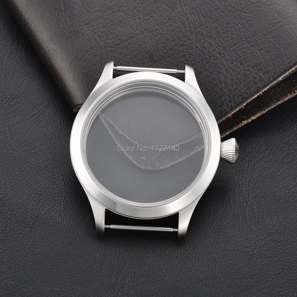 45mm Sapphire Crystal 316L SS Case Fit With Hand Winding 6497/6498 Movement 010302 hot selling womens ss watch with tongston middle bead sapphire crystal ss buckle freeshipping ls3506s