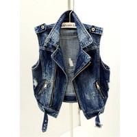 Spring Autumn Korean Short Ripped Jeans Coat Sleeveless Punk Denim Vest Female Summer Vest Motorcycle Jacket Cool Waistcoat