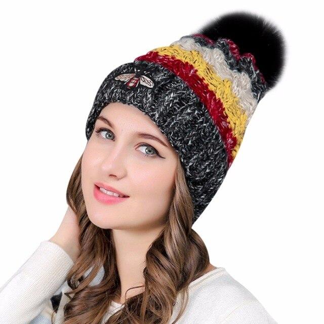 6b4611929adde 2017 Winter Pom Pom Hat Women Beanies Honeybee Embroidery Hats Womens Faux  Fur Ball Hat Female