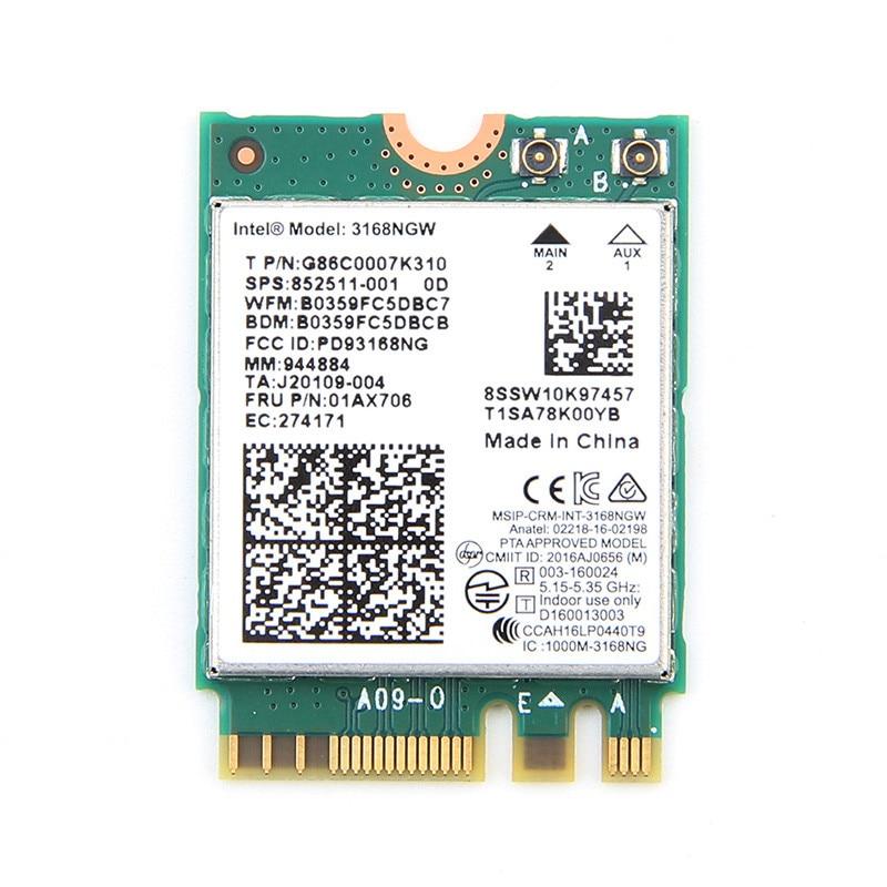 Double bande Sans Fil Mini Wlan Pour Intel 3168 AC 3168NGW NGFF M.2 802.11ac Wifi Bluetooth 4.2 Carte 2.4G 5 Ghz Réseau Wi-Fi Adaptateur