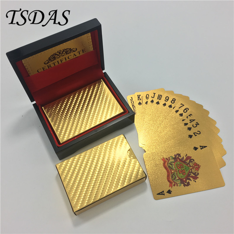 Golden Foil Plated Normal Playing Cards Poker 52 Cards 2 Jokers Special Birthday Poker Gift Unusual With Black Wooden Box