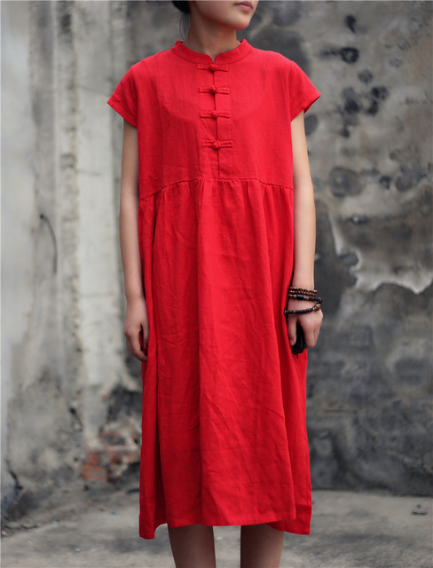 Rot stehkragen chinesischen stil jahrgang kleid Frauen kurzarm ...