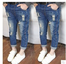 hot deal buy girls' pants 2019 new spring and autumn children's jeans hole children's jeans trousers baby pants 2-4-6-8 years