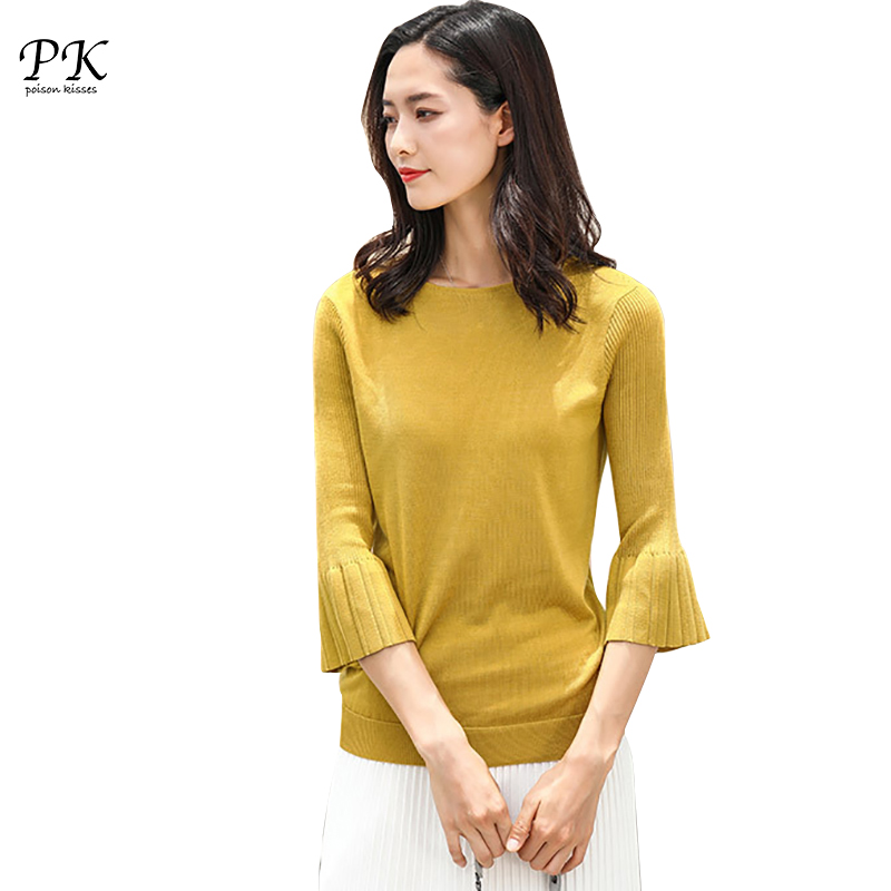 PK Autumn Sweater Women Flare Sleeve O Neck Knitting Sweaters Brand Designer Woman Soft Elegant Pullover Female Solid Jumper