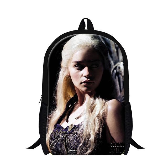 Nuevo juego de tronos carácter mochila mochila para chica moda, cabeza fría bookbag, violetta bolsa para adolescentes de la escuela utilizada